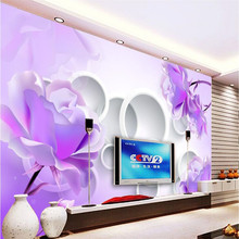 beibehang Large Painting Home Decor Purple lotus flower circle Hotel Background Modern Mural for Living Room Pared 3d Wallpaper