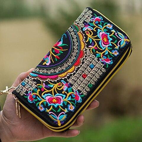 Bordados de Flores Mulheres de Longo Bolsa de Mão do Telefone Duplo Zíper Chinês Étnico Bordado Bolsa Carteira Artesanal Pequeno Tailândia Carteira