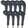 Golf cabeza cubierta Putter cuello largo 9 unids/set No.3-Sw hierro Club íntegras por la izquierda con las manos- cuero PU de lujo duradero