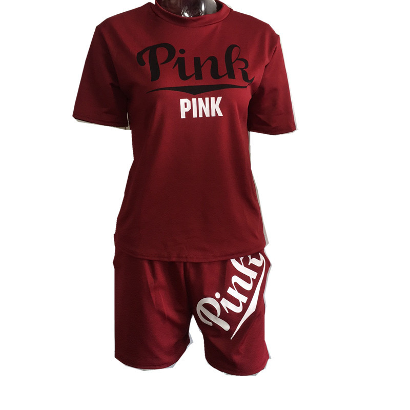 8bc81f90dd Women Pink Outfit Printing Short Sleeve T-shirt Top And Shorts Two Piece  Set Tracksuit Women Summer Pink Sweatsuit Plus Size