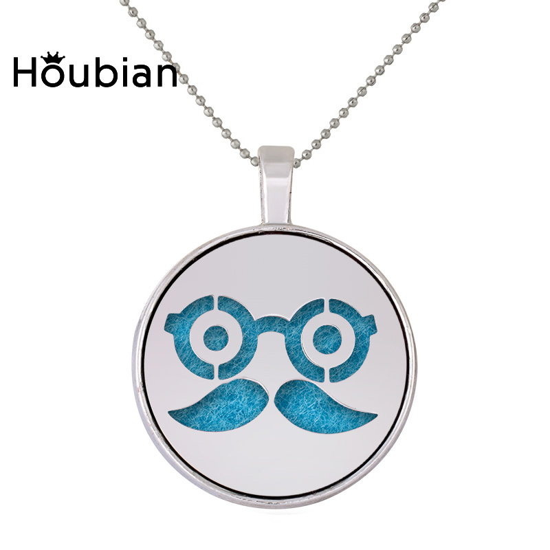 Houbian Expression Beard Eyes Aromatherapy Necklace Hollow Stainless Steel Diffuser Pendant Necklace Accessories