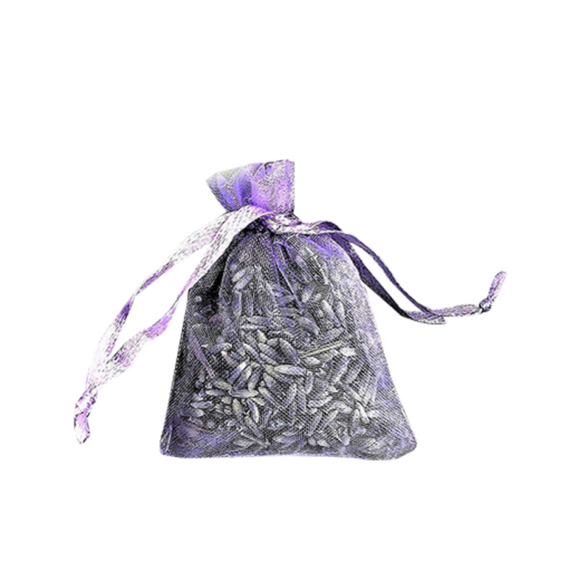 Dried Lavender Flowers Buds Sachets Bag  With Drawstring Organza Pouch For Home Office Drawers Closets Wardrobes Car