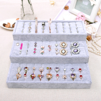 Velvet Jewelry Organizer Three layers Ring Jewellery Display Holder Ring Display Stand Storage Box Jewelry Organizer Case Casket