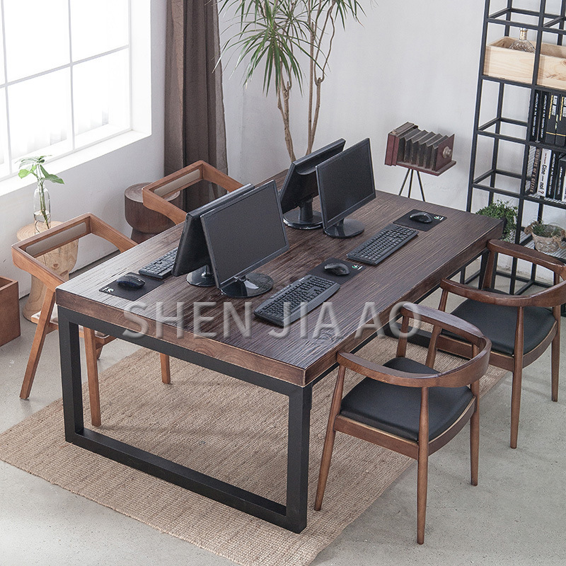 Minimalist Conference Table Wrought Iron Wood Desk Tea Table Combination Wood Rectangular Meeting Computer Desk Without Chair
