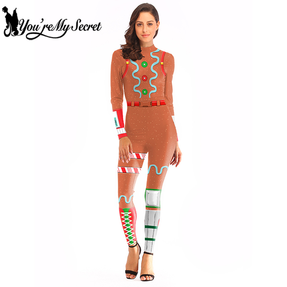 [Youre MySecret] 2019 Orange Skin Unlocked GINGERBREAD Merry Marauder Cosplay Costume for Women Sexy Bodysuit Jumpsuit