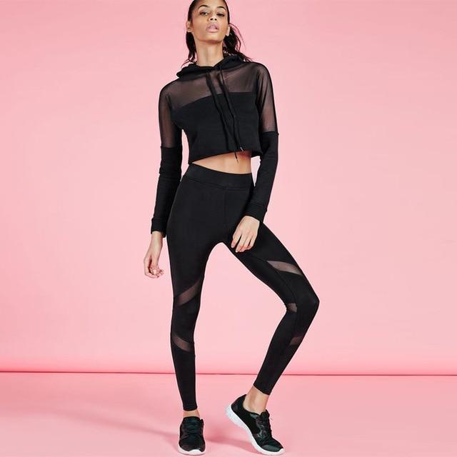 2016 nuevas mujeres de la moda casual negro mesh patchwork de manga larga blusas y camisetas de los pantalones dos piezas conjuntos trajes chándales