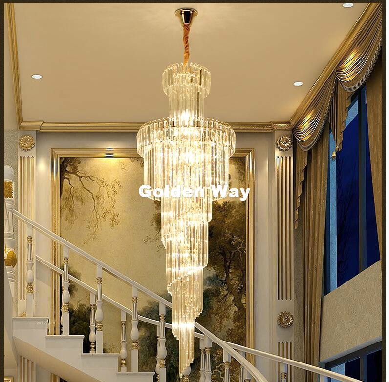 Free Shipping D600mm H1800mm Golden Luxury Crystal Chandelier K9 Crystal For Hotel Lobby Double Floor Crystal E14*28 LED Lamp free shipping d450mm luxury k9 crystal chandelier lamp k9 golden crystal hotel hall light led crystal pendant 100