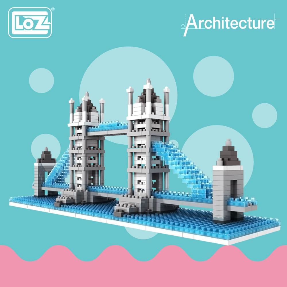 цена на LOZ ideas Diamond Block Tower London Bridge River Thames England UK Architecture Famous Building Model Assembly Toys DIY 9371