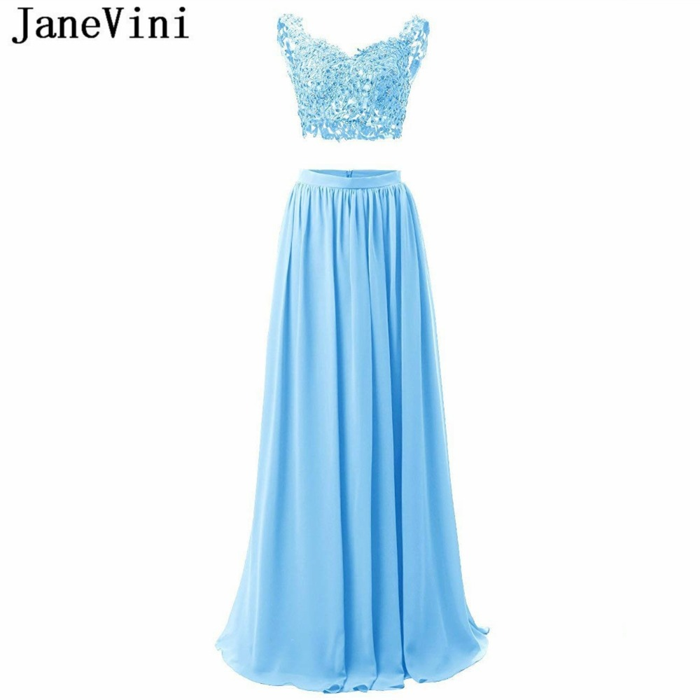 JaneVini 2018 Chiffon Two Piece Dress V-Neck Blue Dress Bridesmaid With Lace Appliques Beads A Line Long Prom Gowns Floor Length