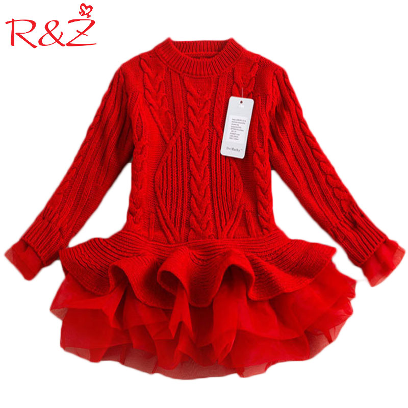 R&Z Autumn 2017 Thick Warm Girl Dresses Princess Knitted Winter Party Kids Sweater TuTu Dress Girl Clothes Children Clothing children clothing new winter style knitted thick warm girl dress mesh patchwork o neck cute autumn baby kids girls dresses xl269
