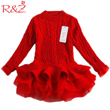 R&Z Autumn 2019 Thick Warm Girl Dresses Princess Knitted Winter Party Kids Sweater TuTu Dress Girl Clothes Children Clothing k1