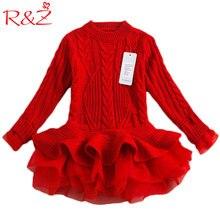 R & Z Sonbahar 2019 Kalın Sıcak Kız Elbise Prenses Örme Kış Parti Çocuklar Kazak TuTu Elbise Kız Çocuk Giysileri Çocuk giyim k1