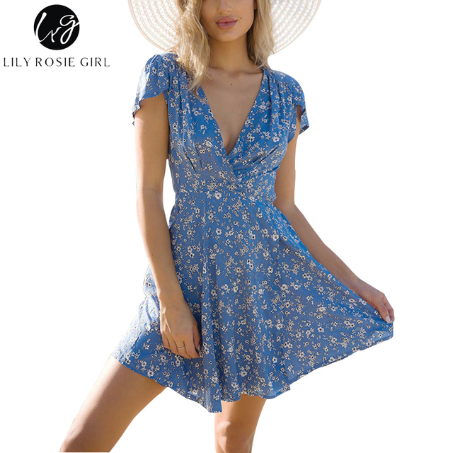 ffd9c57b2caa Lily Rosie Girl Blue Floral Print Summer Beach Dress Boho Style Deep V Neck  Short Sleeve Sexy Party Mini Wrap Dresses Vestidos