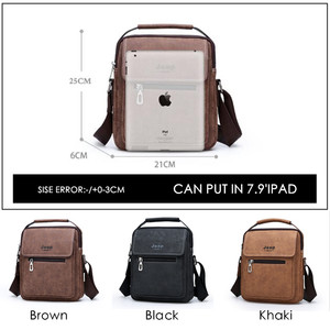 Image 3 - JEEP BULUO Brand Man Handbag Hot Sale Men Messenger Shoulder Bags Frosted Leather Totes Classic Brown Crossbody Bag New Style
