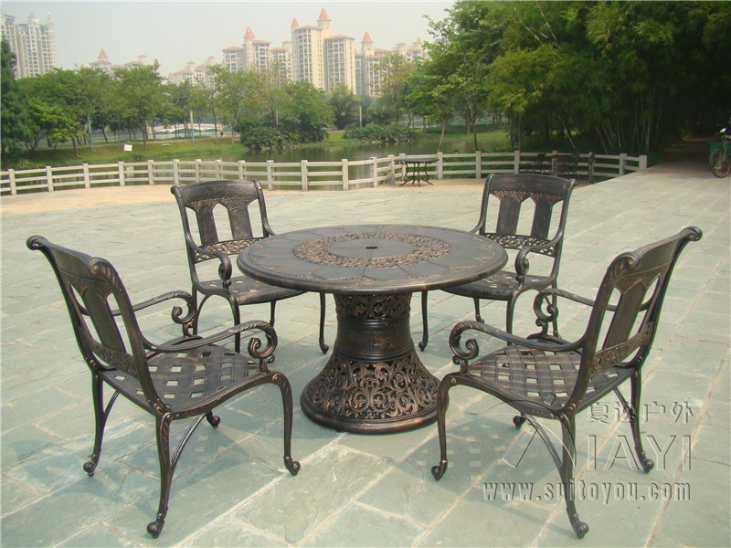 5 piece best selling cast aluminum table and chair outdoor for Outdoor furniture 5 piece