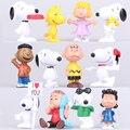 12 pcs / set 5-6cm 150g pvc Snoopying Animal Doll for Kids Baby Model