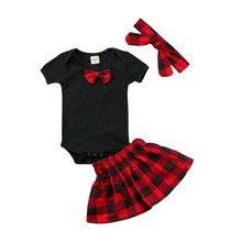 2018 Hot Sale Baby Girls Clothes Set 3pcs Newborn Infant Girl Costumes Bow black Romper Red Plaid Skirts Princess Girl Clothing(China)