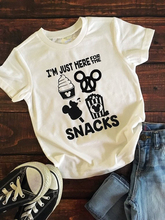 i'm just here for the snacks Short Sleeve T-Shirt Trendy Popular Casual Tee Cotton Mouse Family Gray O-Neck Shirt Camisetas