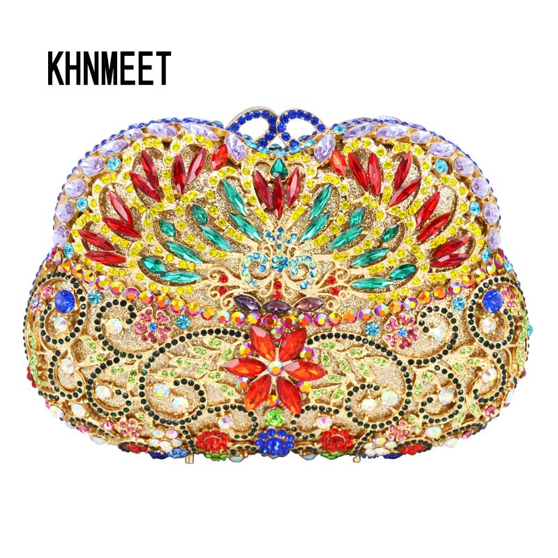 Multicolor Designer Diamond Crystal Evening Bag Women's Luxury Wedding Bride Purse Bright AB silver powder box Clutch Bag SC479 brand designer luxury crystal multicolor clutch bag women diamond evening bag golden oval wedding banquet purse handbags sc467