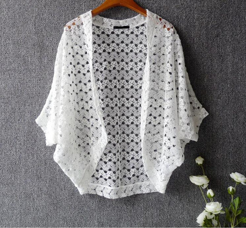 ff71c5144c9 US $19.8 |Women Lace Cardigan Japanese Style Sweet Cute Lace Shrugs Batwing  Hollow Out Lace Tops Summer Knitted Cardigan Black/White/Pink-in Blouses &  ...