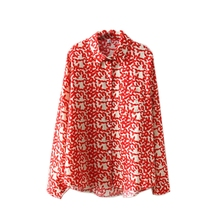 Women Long Sleeve Shirt Floral Print Beach Style Blouse Summer Turn-down Collar Tops
