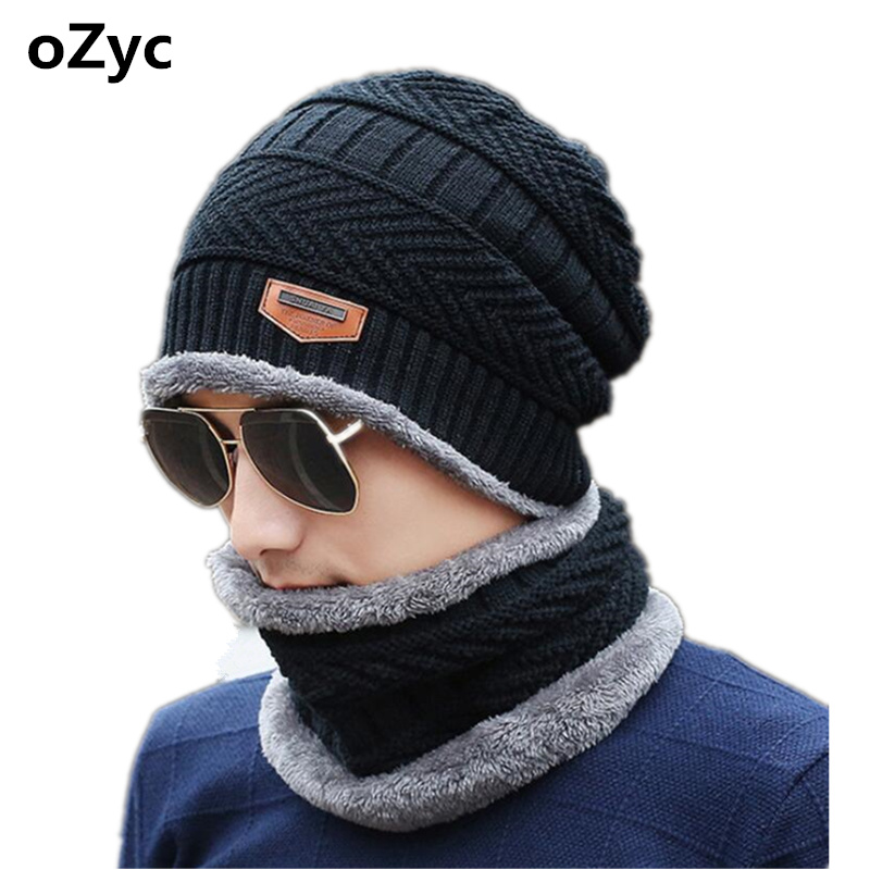 Neck warmer winter hat knit cap scarf set fur Wool Lining Thick Warm Knit balaclava Winter Hat Cap Scarf Sets Skullies bonnet cute cartoon bear ms qiu dong the day man with thick warm knitting wool hat sets pointed cap