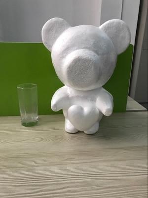 1pcs 35cm Standing-heart Foam Bear Model Polystyrene Styrofoam Teddy Rose Bear White Craft Balls For DIY Christmas Party Gifts