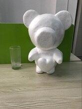 1pcs 35cm standing-heart foam bear model Polystyrene Styrofoam teddy rose White Craft Balls For DIY Christmas Party Gifts