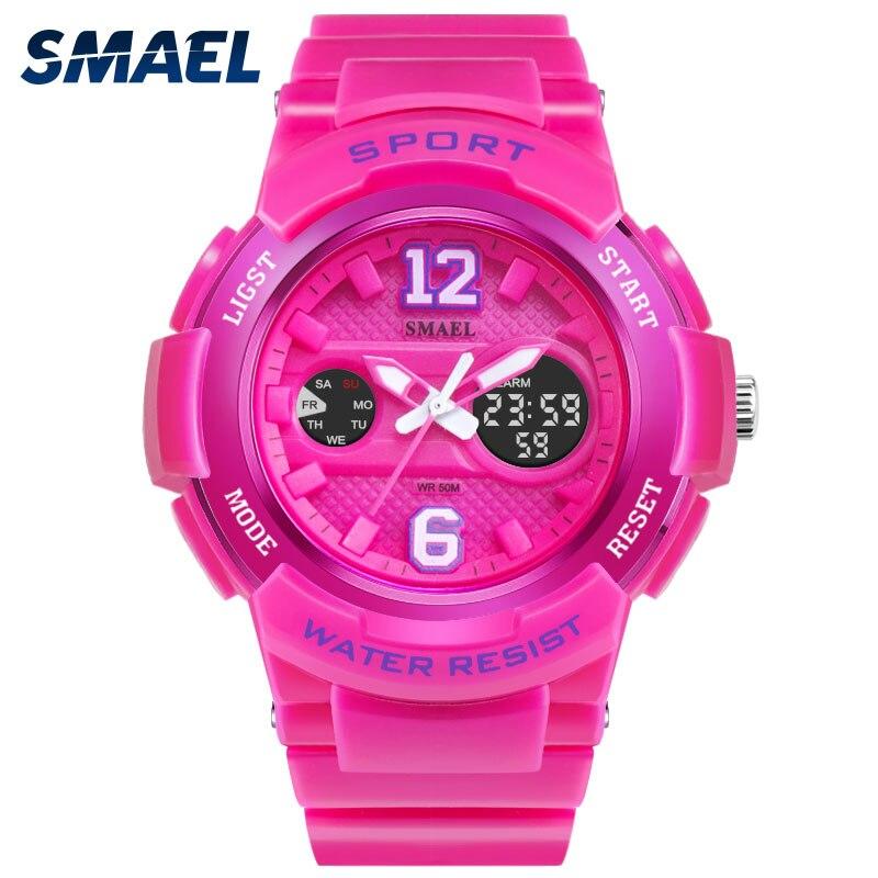 SMAEL Women Baby Girl Watches Fashion Dual Display Sport LED Watch Frauen Uhren Mode Sport Clock Quartz Feminino Clock 1632