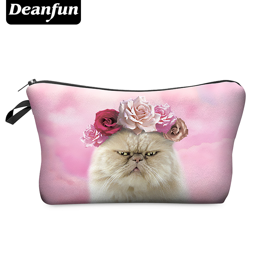 Deanfun Travel Cosmetic Bag  Hot-selling Women Brand Small Makeup Case 3D Printing  Christmas Gift Roses Cat H40 deanfun travel cosmetic bag 2016 hot selling women brand small makeup case 3d printing christmas gift water pig h46