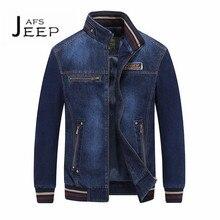 AFS JEEP Autumn Man's Stand Collar Slim Denim Motorcycle jacket,Dark Blue bomber jacket man, brand jaqueta jeans masculino males