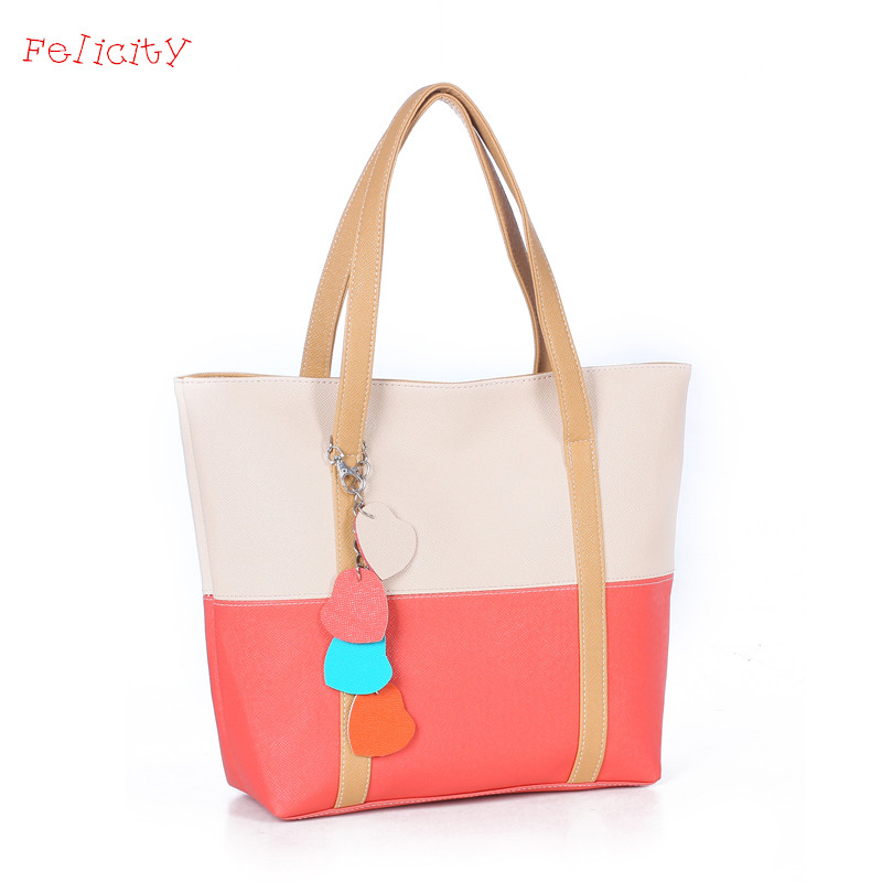 Felicity Hot Summer Fashion Women PU Leather Shoulder Bags Casual Tote Handbags Tassel Tote Bags Sac A Main Marques Bolsos Mujer