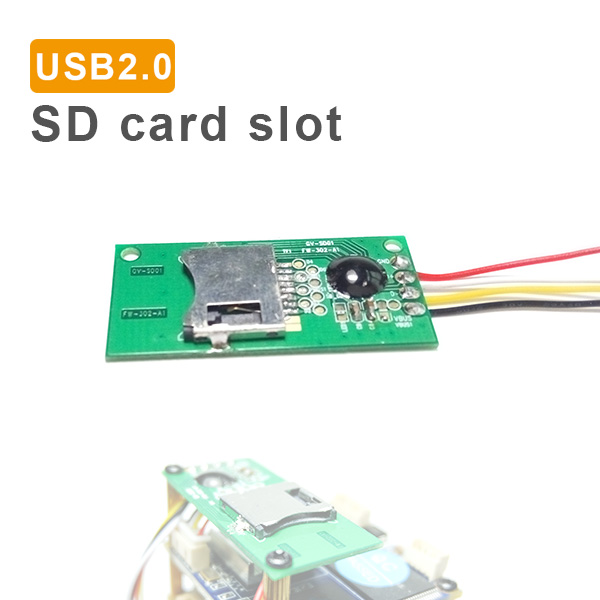 USB2.0 standard MicroSD card slot module for TF SD card reader, IP camera, SCM, STM, computer hardware integration etc. GV-SD01
