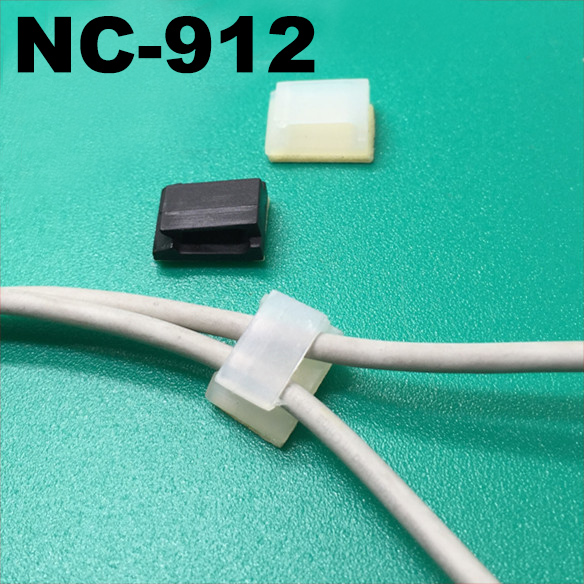 100pcs NC-912 12.3x9.5mm Black White Stick Fixed Seat Nylon Plastic Self Adhesive Tie Base Car Recorder Cable Wire Clamp Clip