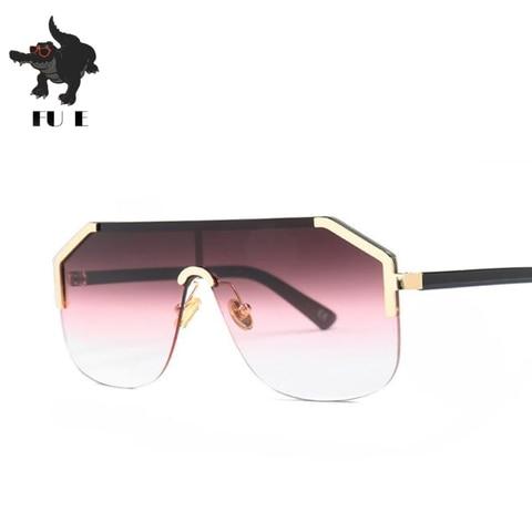 FU E New Gradient Retro Siamese Lens Square Sunglasses Women Brand Designer Half Frame Shield shape Mens Sunglasses UV400  22071 Lahore