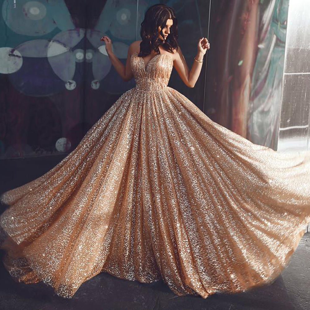 gold   prom     dresses   sweetheart neckline sequins sparkly sparkly evening   dresses   women party   dress   2019