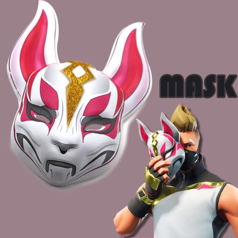 Cool Unisex Game Fox Drift Skin Plastic Mask Cosplay Halloween Party Masks Props