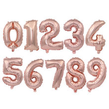 32 Inch Rose Gold Number 0-9 Foil Digital Balloons For Birthday Party(China)