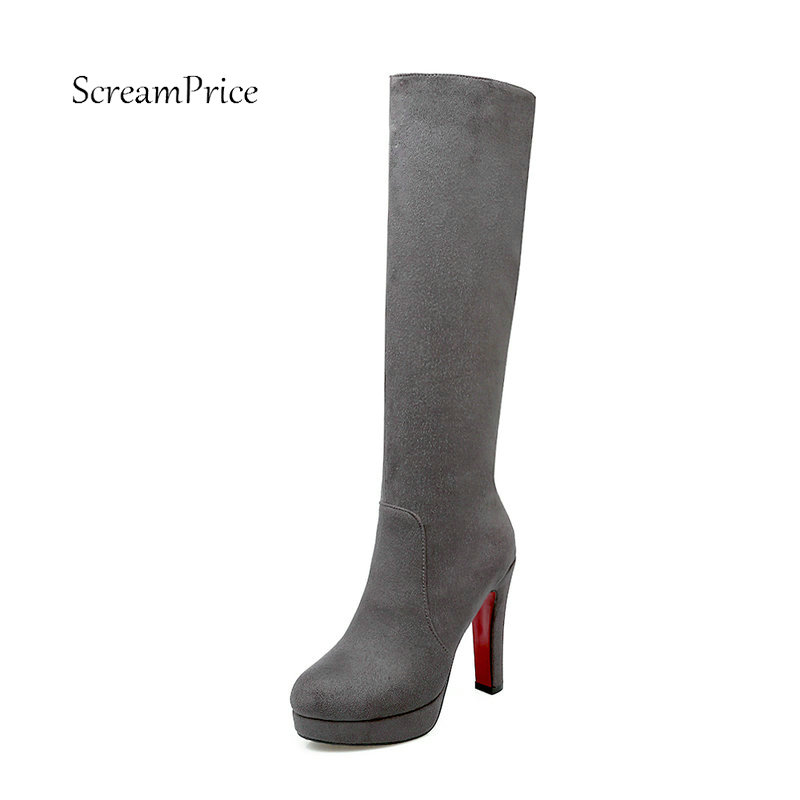 Knee High Square High Heel Platform Winter Women Boots Fashion Side Zipper Party Shoes Woman Wine Red Black Brown Gray women platform square high heel ankle boots fashion side zipper round toe shoes woman black white beige