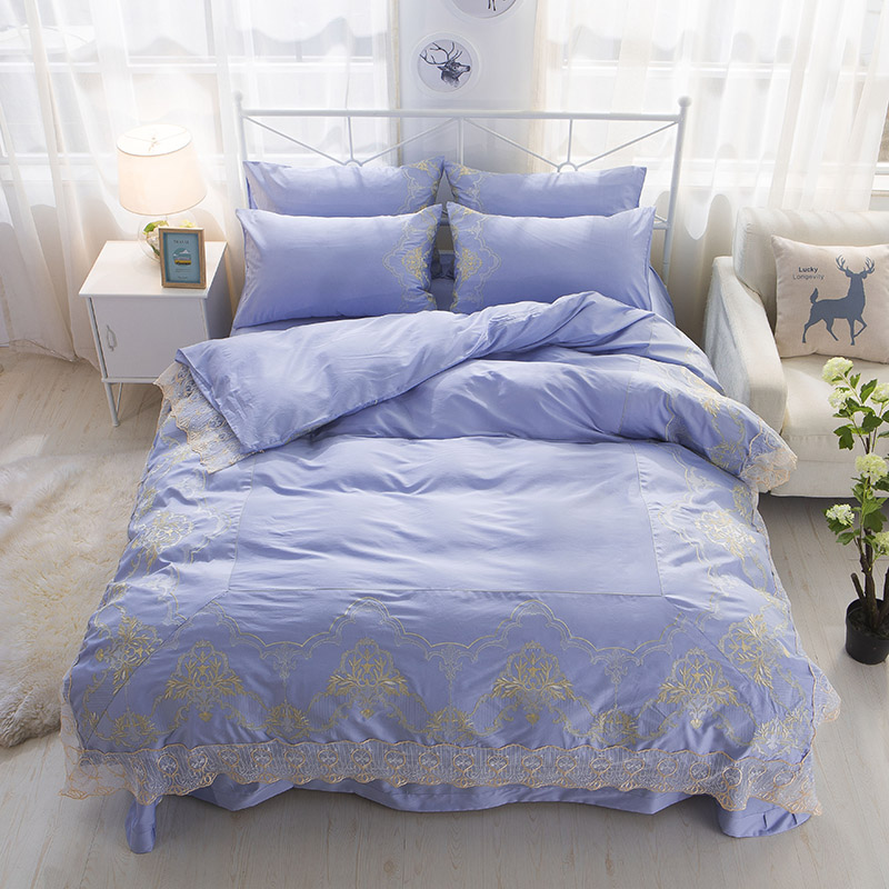 4pcs Luxury Egypt cotton Princess style pure Bedding set Embroidery Lace Duvet cover set Bedsheet Pillowcases Queen King size4pcs Luxury Egypt cotton Princess style pure Bedding set Embroidery Lace Duvet cover set Bedsheet Pillowcases Queen King size