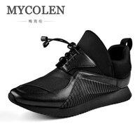 MYCOLEN 2018 Новая модная брендовая обувь для мужчин Классические повседневные увеличивающие рост уличные танцы минималистский дизайн Мужская