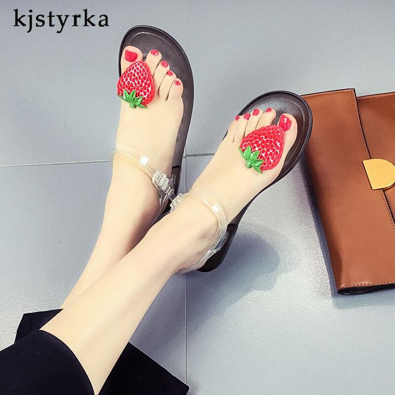 Kjstyrka Alias Mujer 2018 Mode Sommer Frauen Sandalen Nette Erdbeere Fischgräten Sandalen Frauen Wohnungen Schuhe Attraktives Aussehen Schuhe