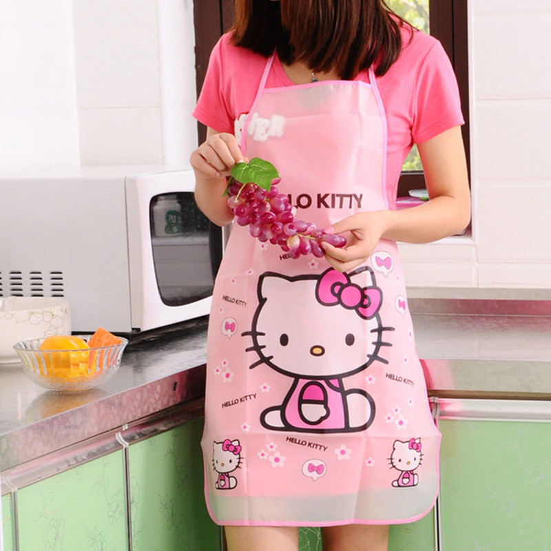 % 5 designs cartoon hello kitty doraemon Apron Sleeveless Waterproof Anti oil Aprons kitchen cooking Waist Bib Women apron BBQ