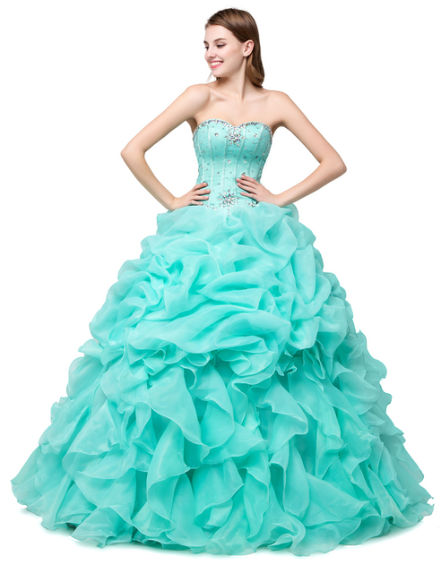 Juliana new querida verde hortelã vestidos quinceanera 2017 vestido de baile frisada crytals ruffled sweet 16 vestidos do baile de finalistas qa1007