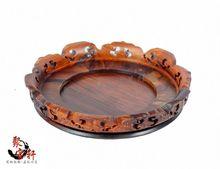 Rosewood carving annatto handicraft circular base of real wood of Buddha stone vases, furnishing articles