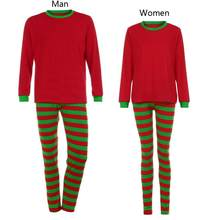 0863da067e6cc 2018 Christmas Family Matching Outfit Pajamas Set Couple Women Men Stripe  Sleepwear Nightwear Long Sleeve Clothes