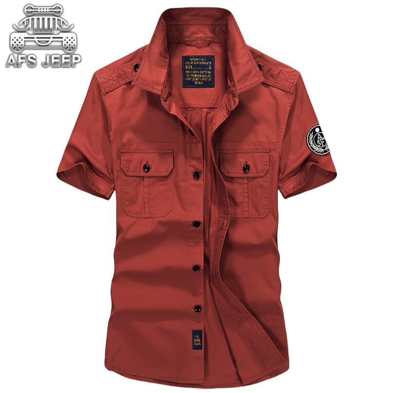 Men's Shirts New Style Summer Air Force One Military Army Cargo Blouse Short Sleeve Plus Size Mutil-Pockets Design 100% Co't'ton