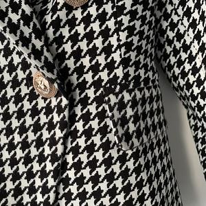 Image 5 - High street elegante 2020 runway blazer feminino duplo breasted leão botões houndstooth carreira blazer jaqueta