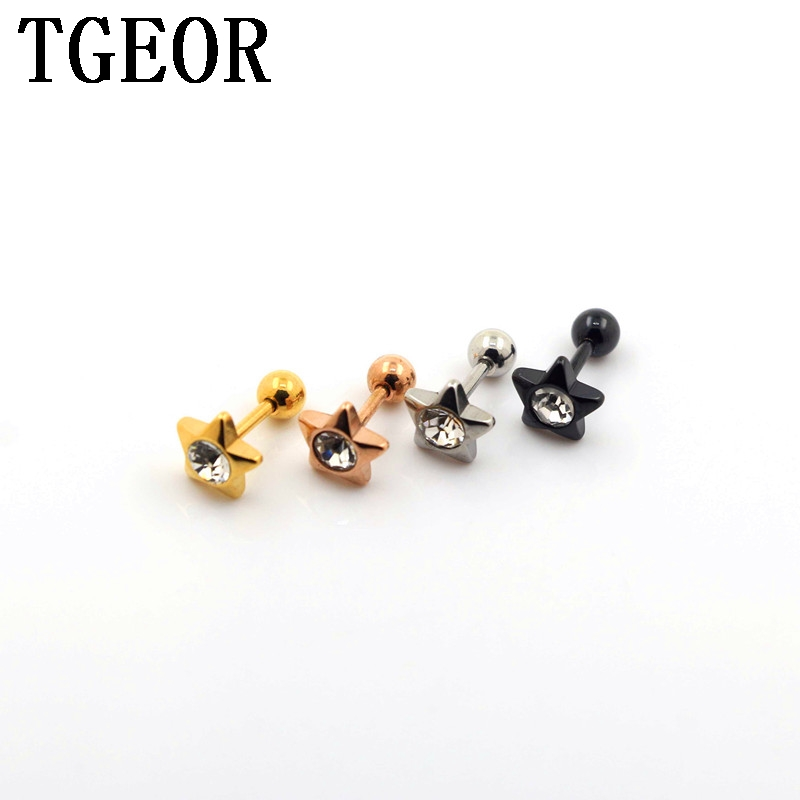 free shipping Hot titanium colors 30pcs 1.2*6*4/8mm surgical Stainless Steel star gem crystal ear tragus piercing earring