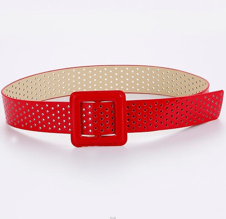 Большой квадратный ремень с пряжкой для женщин, модный широкий черный кожаный ремень для женщин, много буровых джинсов, женские ремни высокого качества Ceinture Femme - Цвет: red color